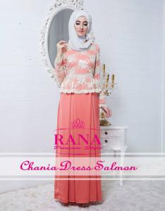 Pusat Gamis Terbaru Chania Dress Salmon By Rana Style