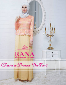 Pusat Gamis Terbaru Chania Dress Yellow By Rana Style