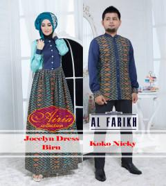 Pusat Gamis Terbaru Koko Nicky Jocelyn Dress Biru by Airia Collection