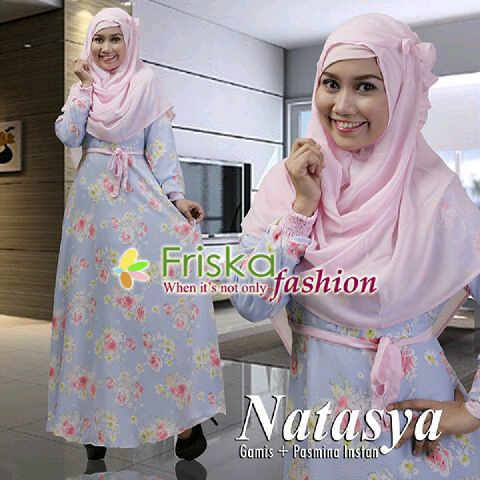 model baju pesta cantik Pusat-Gamis-Terbaru-Natasya-Motif-By-Frishka-Fashion-baby-Pink