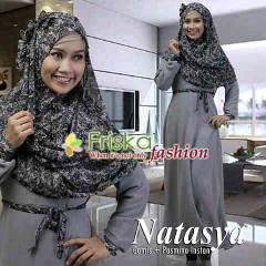Pusat Gamis Terbaru Natasya Polos by Friska Fashion Grey