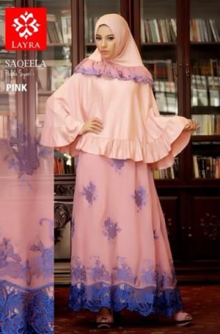 baju muslim elegan Pusat Gamis Terbaru Saqeela By Layra Pink