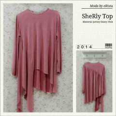 Pusat Gamis Terbaru Sherly Top by Moda Dusty Pink