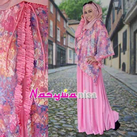 baju pesta muslim terbaru Pusat-Gamis-terbaru-ALFIRA by-Nasywannisa-pink