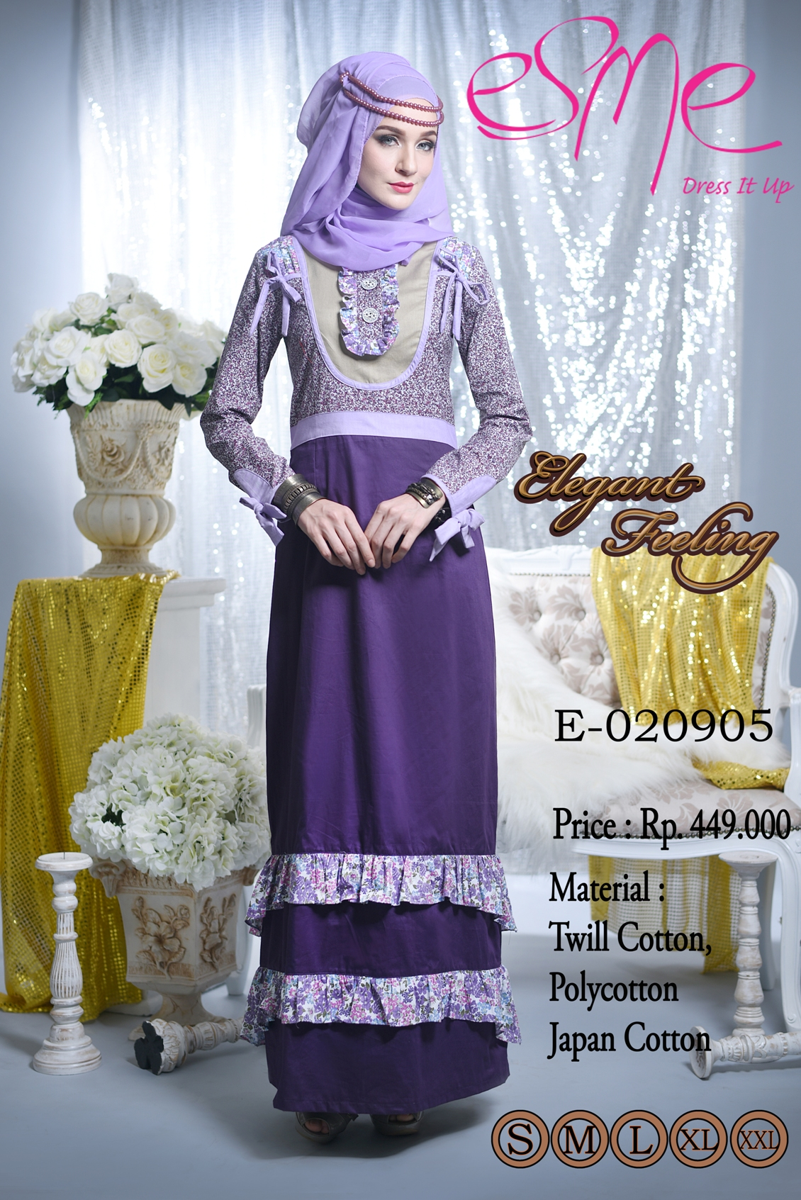 Elegant feeling e 020905 baju muslim gamis modern Baju gamis terbaru xxl