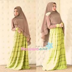 model baju pesta elegan Pusat-gamis-terbaru-Al-Raana-By-Hawwa-Aiwa-Hijau-Lemon