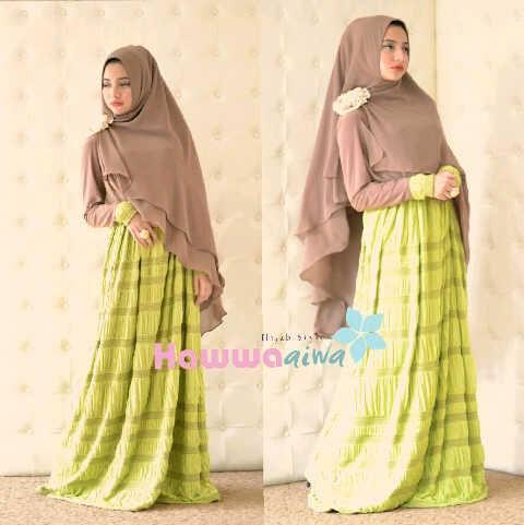 Al Raana Hijau Lemon Baju Muslim Gamis Modern