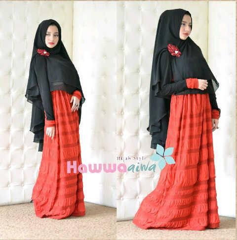 Al Raana Merah Baju Muslim Gamis Modern