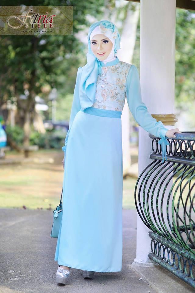 Khalsha Biru Muda Baju Muslim Gamis Modern