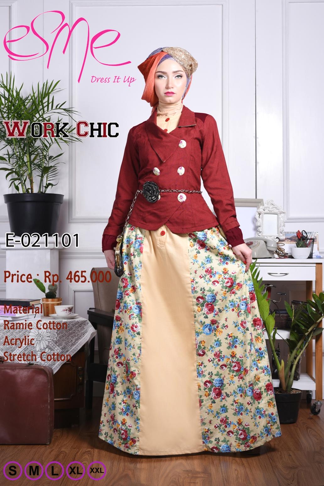 Work Chic E 021101 Baju Muslim Gamis Modern