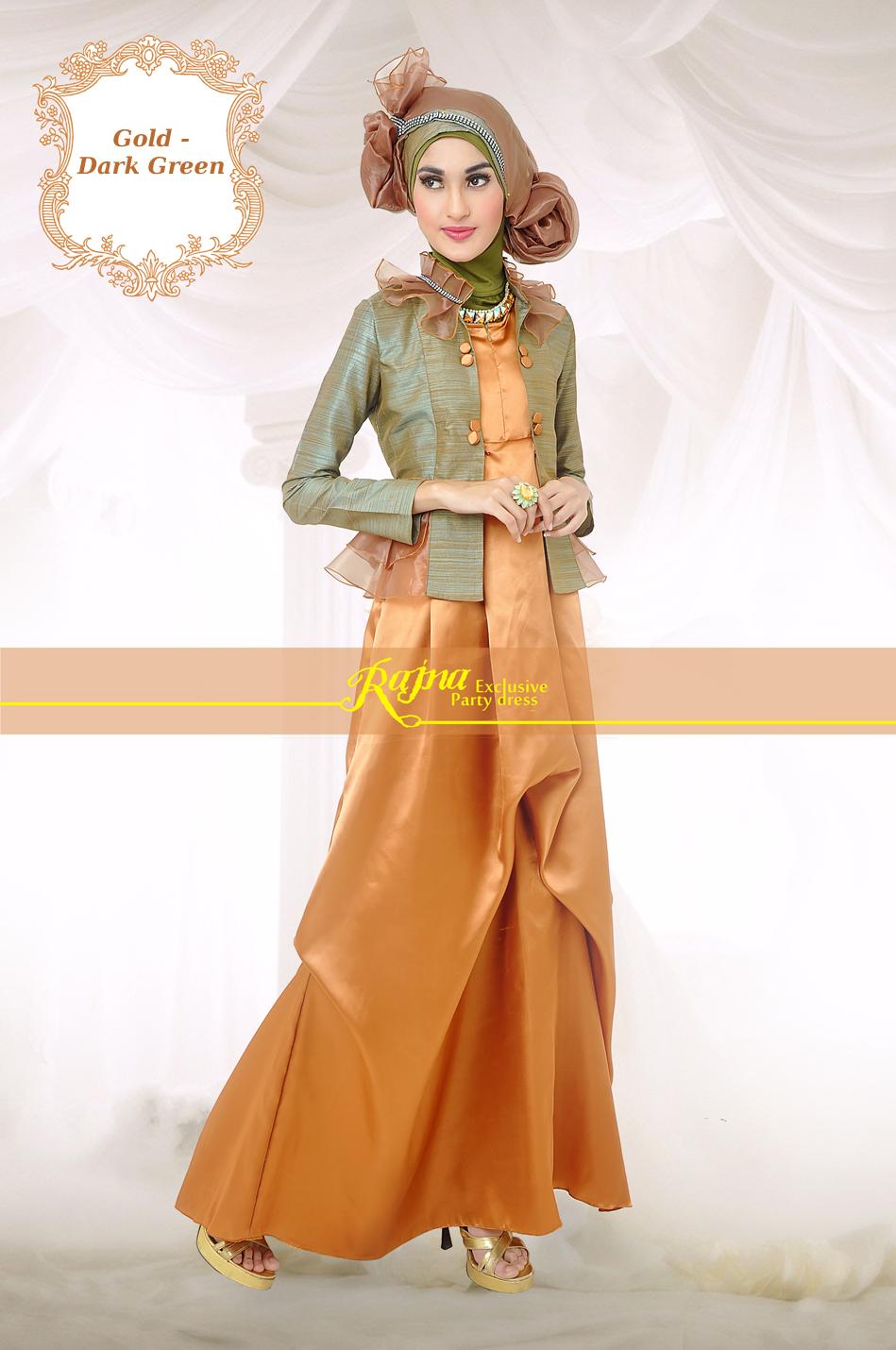 Rj 18 Gold Green Mint Baju Muslim Gamis Modern
