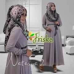 Grosir Busana Muslim Pesta Terbaru Pusat Gamis Terbaru Natasya by Friska Abu-abu