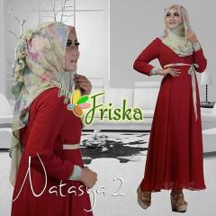 Grosir Busana Muslim Pesta Terbaru Pusat Gamis Terbaru Natasya by Friska Maroon