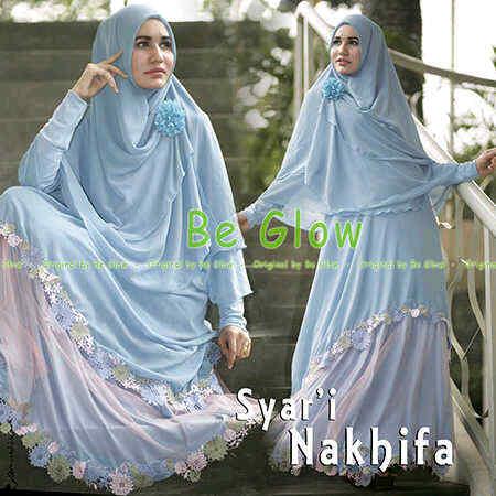 Grosir Busana Muslim Terbaru Nakhifa by Be Glow Soft Blue