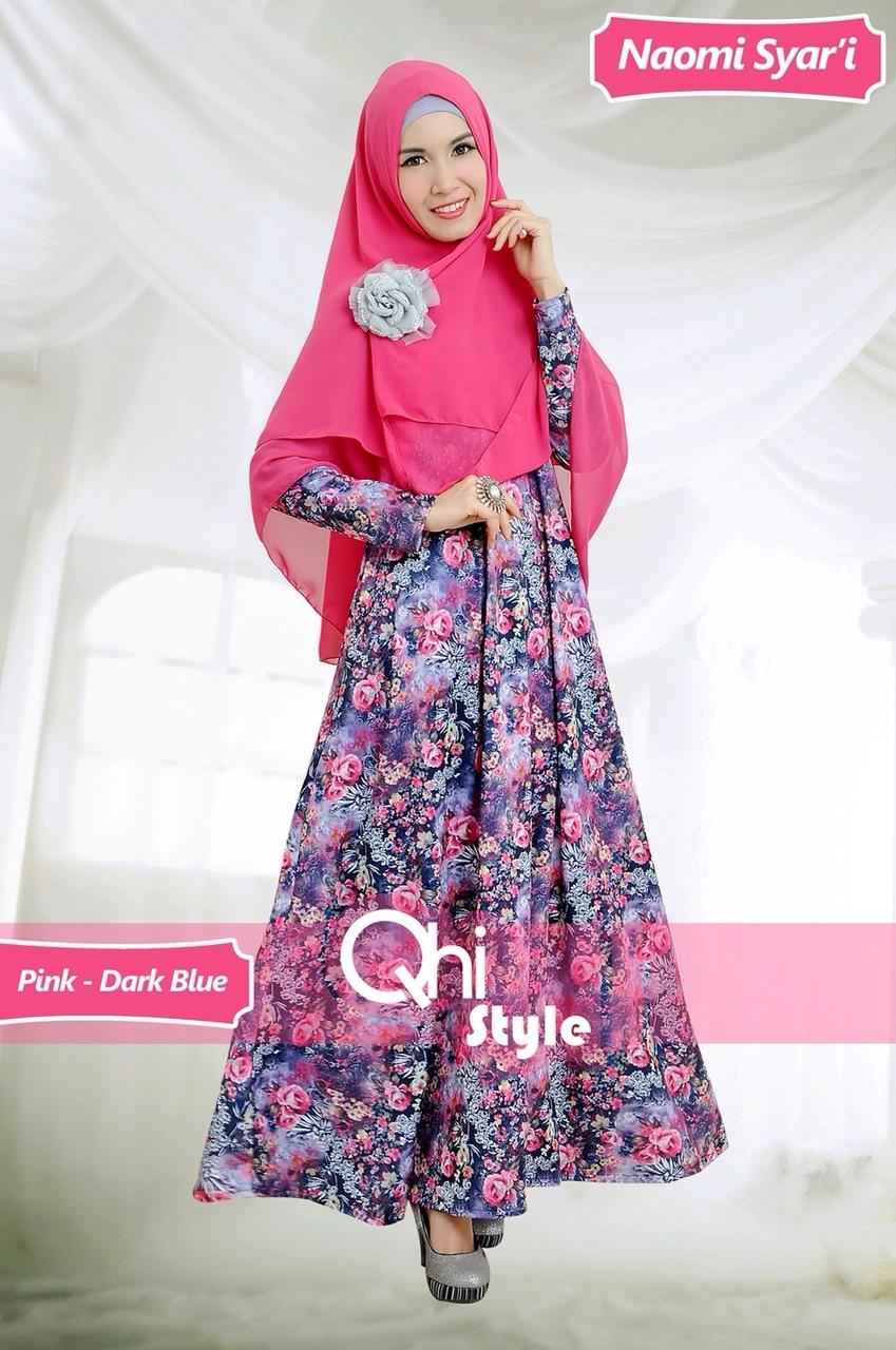 Grosir Busana Muslim Terbaru Naomi Syari by Qhi Style Pink-Dark Blue