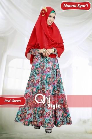 Grosir Busana Muslim Terbaru Naomi Syari by Qhi Style Red-Green