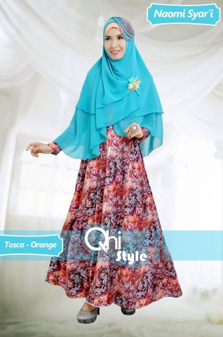 Grosir Busana Muslim Terbaru Naomi Syari by Qhi Style Tosca-Orange