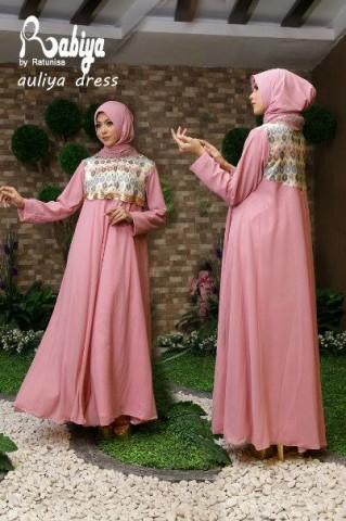 Pusat Gamis Terbaru Aulia Dress by Rabiya Pink