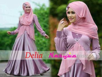 Pusat Gamis Terbaru Delia by Naswanisa Dusty Pink