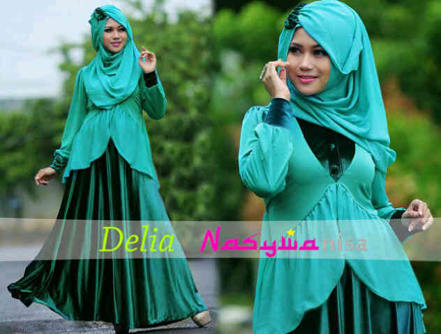 Delia By Nasywanisa Hijau Tosca Baju Muslim Gamis Modern