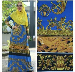 Pusat Gamis Terbaru Dress Roberto Cavali by Ri Muslimah Biru Elektrik
