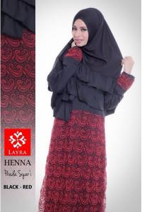 Pusat Gamis Terbaru Henna by Layra Black - Red