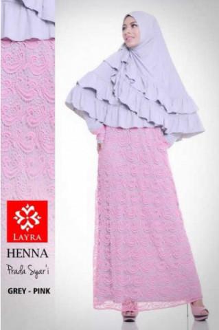Pusat Gamis Terbaru Henna by Layra Grey - Pink