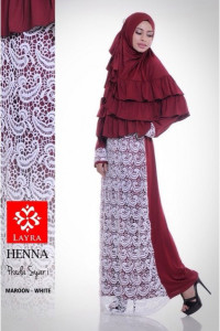 Pusat Gamis Terbaru Henna by Layra Maroon - White