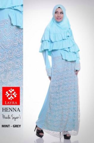 Pusat Gamis Terbaru Henna by Layra Mint - Grey