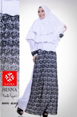 Pusat Gamis Terbaru Henna by Layra White - Black