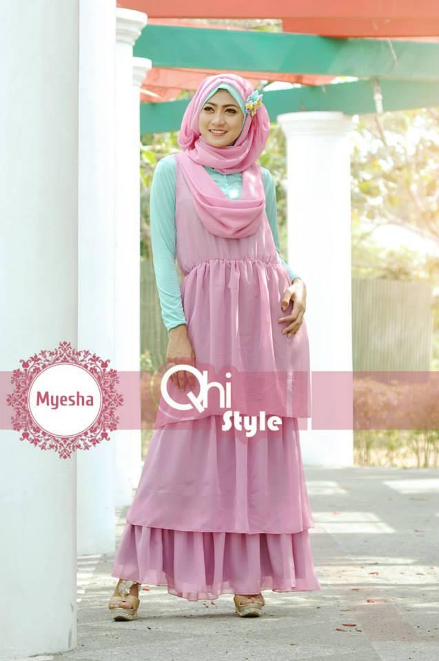 Pusat Gamis Terbaru Myesha by Qhi Style Dusty Pink