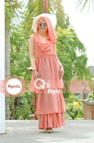 Pusat Gamis Terbaru Myesha by Qhi Style Orange