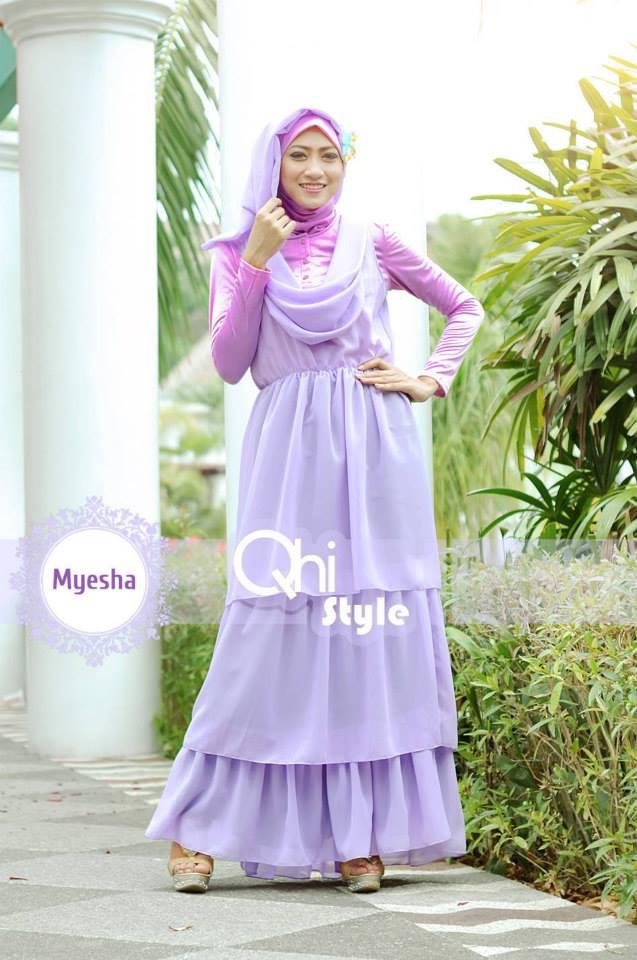 Pusat Gamis Terbaru Myesha by Qhi Style Purple