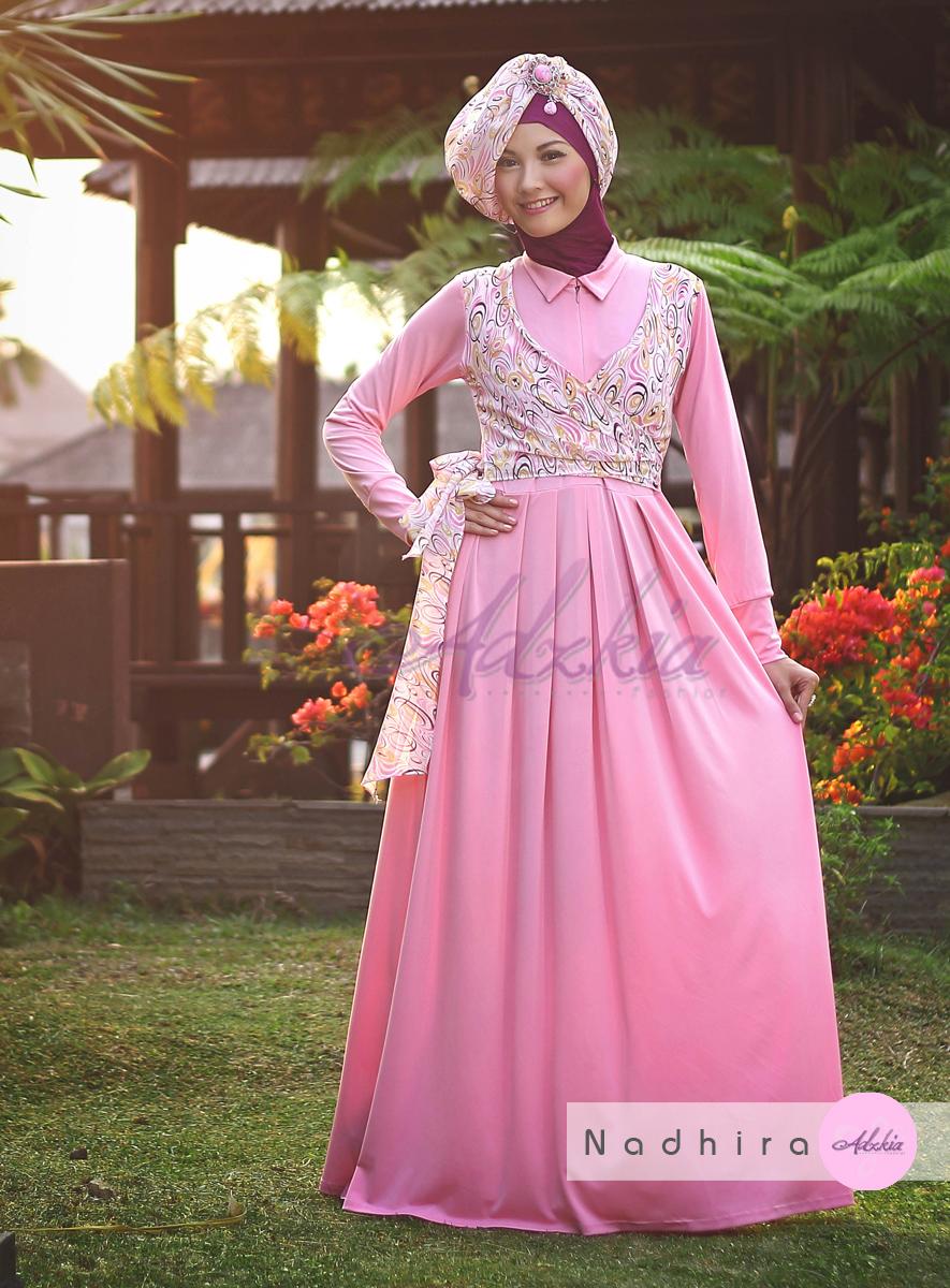 Nadhira By Adzkia Pink Baju Muslim Gamis Modern