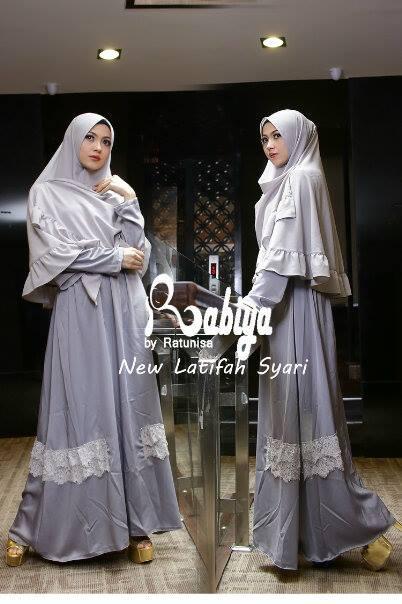 Pusat Gamis Terbaru New Latifah Syari by Rabiya Dark Grey