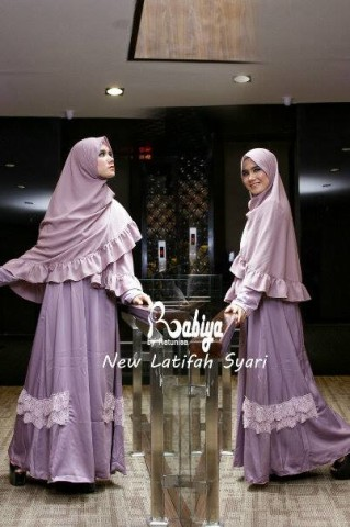 Pusat Gamis Terbaru New Latifah Syari by Rabiya Dusty Purple