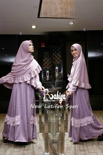 Pusat Gamis Terbaru New Latifah Syari by Rabiya Dusty Purple