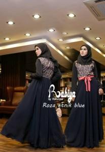 Pusat Gamis Terbaru Roza by Rabiya Biru Dongker
