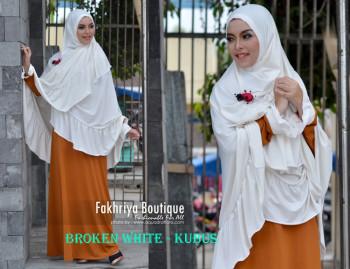 Pusat Gamis Terbaru Syarofa by Fakhriya Broken White - Kubus