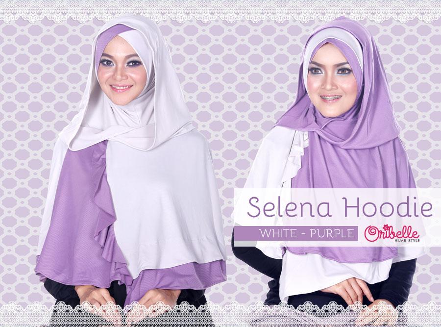 Toko Grosir Semarang Selena Hoodie by Oribelle White-Purple