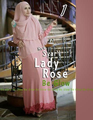 Gamis Muslim Wanita Modern Lady Rose by Be Glow 1