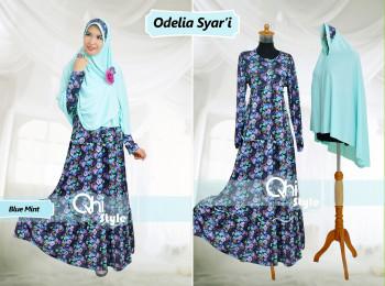 Grosir Baju Muslim Syar'i Odelia Syar'i by Qhi Style Blue Mint