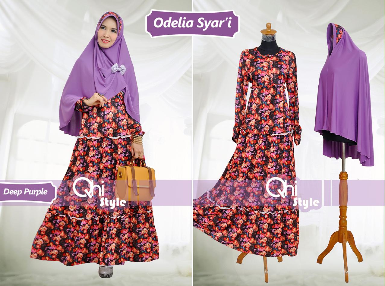 Grosir Baju Muslim Syar'i Odelia Syar'i by Qhi Style Deep Purple