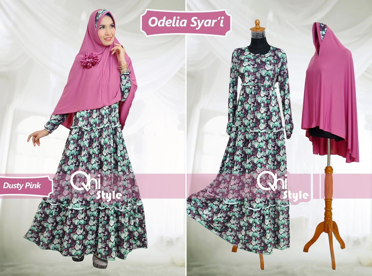 Grosir Baju Muslim Syar'i Odelia Syar'i by Qhi Style Dusty Pink