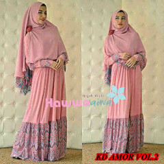 Grosir Baju Muslim Wanita Syar'i KD Amora vol.2 by HawwaAiwa Dusty Pink