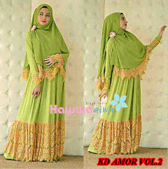 Grosir Baju Muslim Wanita Syar'i KD Amora vol.2 by HawwaAiwa Hijau Pupus