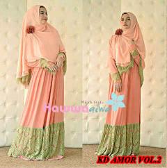 Grosir Baju Muslim Wanita Syar'i KD Amora vol.2 by HawwaAiwa Peach