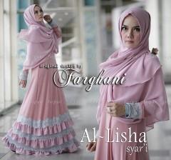 Grosir Baju muslim Wanita Syar'i Al Lisha  Syar'i by Farghani Pink