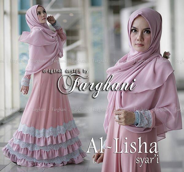 Al Lisha By Farghani Dusty Pink Baju Muslim Gamis Modern
