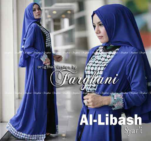 Al Libash By Farghani Biru Baju Muslim Gamis Modern